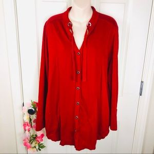 Neon Buddha grommet button up knit jacket large
